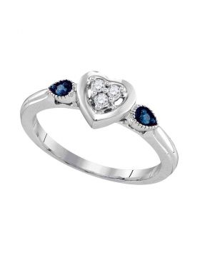 Sterling Silver Womens Round Blue Color Enhanced Diamond Heart Cluster Ring 1/10 Cttw