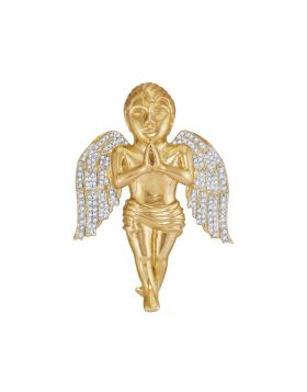 10kt Yellow Gold Mens Round Diamond Angel Cherub Charm Pendant 7/8 Cttw