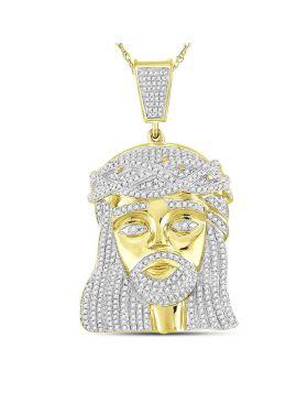10kt Yellow Gold Mens Round Diamond Jesus Christ Messiah Charm Pendant 1-7/8 Cttw