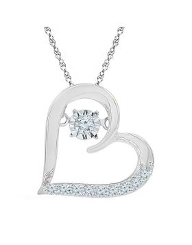 10kt White Gold Womens Moving Twinkle Round Diamond Heart Pendant 1/8 Cttw