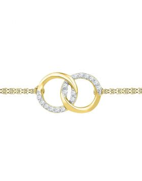 10kt Yellow Gold Womens Round Diamond Linked Circle Fashion Bracelet 1/10 Cttw