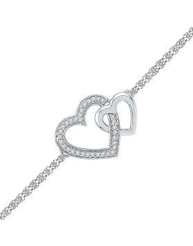 Sterling Silver Womens Round Diamond Double Heart Chain Bracelet 1/10 Cttw