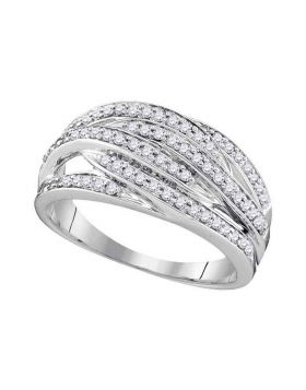 10kt White Gold Womens Round Diamond Striped Band Ring 3/8 Cttw