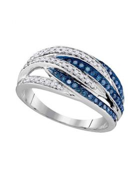 10kt White Gold Womens Round Blue Color Enhanced Diamond Striped Band Ring 1/3 Cttw