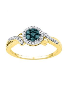 10kt Yellow Gold Womens Round Blue Color Enhanced Diamond Cluster Ring 1/4 Cttw