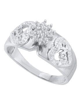 10kt White Gold Womens Round Diamond Heart Love Cluster Ring 1/10 Cttw