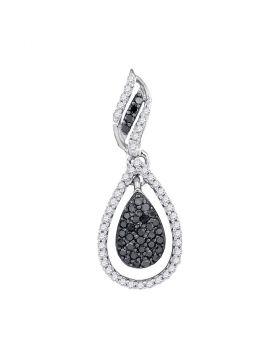 10kt White Gold Womens Round Black Color Enhanced Diamond Teardrop Pendant 1/3 Cttw