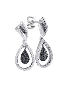 10kt White Gold Womens Round Black Color Enhanced Diamond Teardrop Dangle Earrings 1/2 Cttw