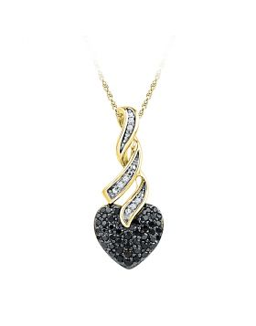 10kt Yellow Gold Womens Round Black Color Enhanced Diamond Heart Pendant 1/3 Cttw