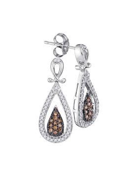 10kt White Gold Womens Round Brown Color Enhanced Diamond Teardrop Dangle Earrings 1/3 Cttw