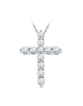 10kt White Gold Womens Round Diamond Cross Religious Pendant 1/3 Cttw