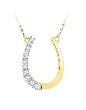 10kt Yellow Gold Womens Round Diamond Horseshoe Pendant Necklace 1/5 Cttw
