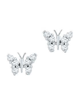 10kt White Gold Womens Round Diamond Butterfly Stud Earrings 1/5 Cttw