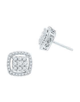 10kt White Gold Womens Round Diamond Square Frame Cluster Earrings 1/2 Cttw