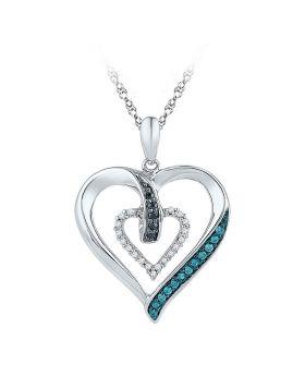 10kt White Gold Womens Round Black Blue Color Enhanced Diamond Heart Pendant 1/6 Cttw