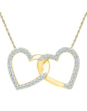 10kt Yellow Gold Womens Round Diamond Double Linked Heart Pendant 1/6 Cttw