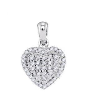 10kt White Gold Womens Round Diamond Heart Cluster Pendant 1/4 Cttw