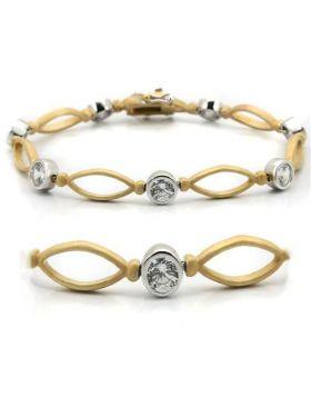 Bracelet Brass Matte Gold & Rhodium AAA Grade CZ Clear