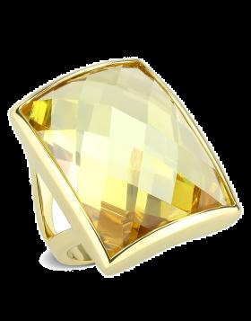 Ring Brass Gold AAA Grade CZ Topaz