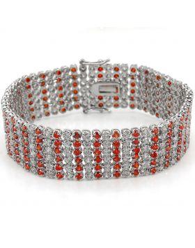 Bracelet Brass Rhodium AAA Grade CZ Orange