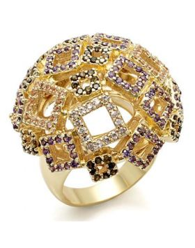 Ring Brass Imitation Gold AAA Grade CZ Multi Color
