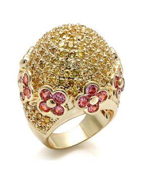 Ring Brass Imitation Gold AAA Grade CZ Rose