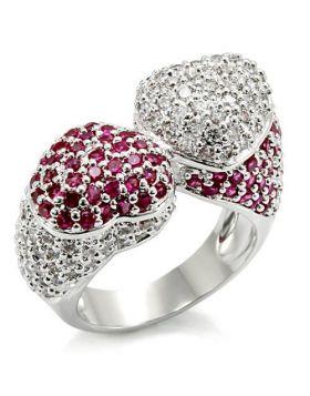 Ring Brass Rhodium Synthetic Ruby Garnet
