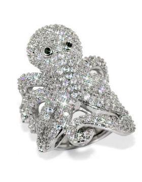Ring Brass Rhodium Top Grade Crystal Clear