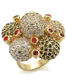 Ring Brass Imitation Gold AAA Grade CZ Garnet