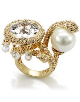 Ring Brass Imitation Gold AAA Grade CZ Clear