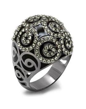 Ring Brass TIN Cobalt Black Top Grade Crystal Black Diamond