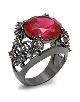 Ring Brass TIN Cobalt Black AAA Grade CZ Ruby