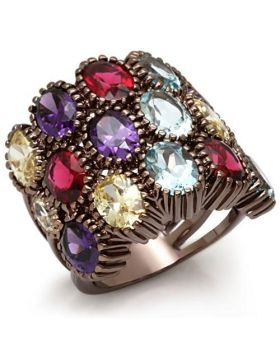 Ring Brass Chocolate Gold Synthetic Multi Color Synthetic Glass