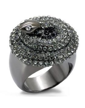 Ring Brass TIN Cobalt Black Top Grade Crystal Multi Color