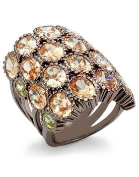 Ring Brass Chocolate Gold AAA Grade CZ Multi Color