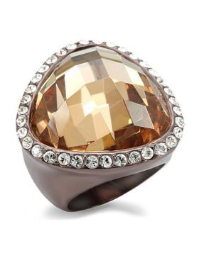 Ring Brass Chocolate Gold AAA Grade CZ Champagne