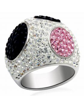 Ring Brass Rhodium + Ruthenium Top Grade Crystal Multi Color