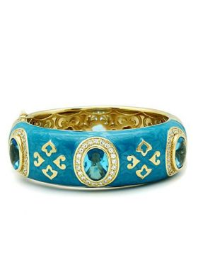 Bangle Brass Gold Synthetic Sea Blue Synthetic Glass