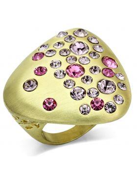 Ring Brass Gold & Brush Top Grade Crystal Multi Color