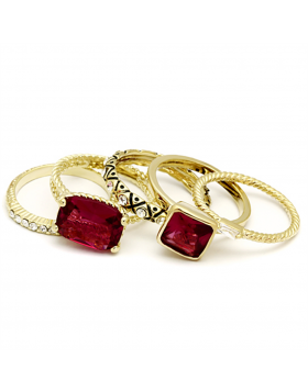 Ring Brass Gold Synthetic Ruby Synthetic Glass