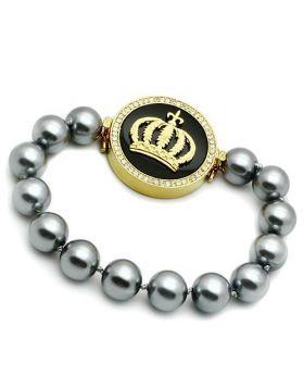 Bracelet Brass Gold Semi-Precious Jet Onyx