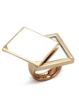 Ring Brass Rose Gold Synthetic Clear Synthetic Glass