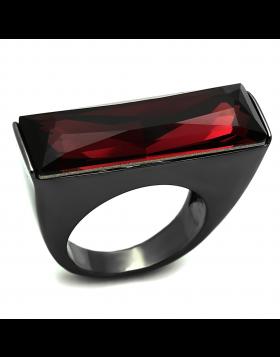 Ring Brass TIN Cobalt Black Top Grade Crystal Siam