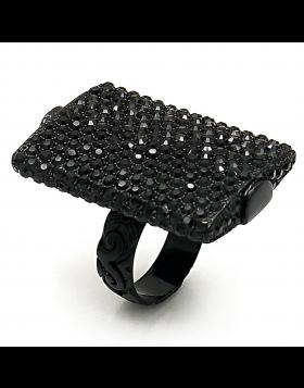 Ring Brass TIN Cobalt Black Top Grade Crystal Hematite
