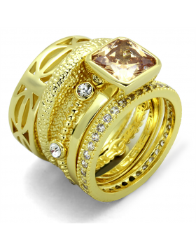Ring Brass Gold AAA Grade CZ Champagne