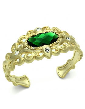 Bangle Brass Gold & Brush Synthetic Emerald Synthetic Glass