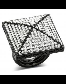 Ring Brass TIN Cobalt Black Top Grade Crystal Clear
