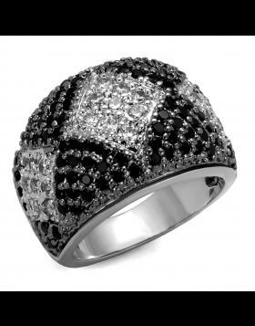 Ring Brass Rhodium + Ruthenium AAA Grade CZ Black Diamond