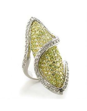 Ring Brass Gold+Rhodium AAA Grade CZ Apple Green color