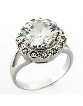 Ring 925 Sterling Silver Rhodium AAA Grade CZ Clear Round